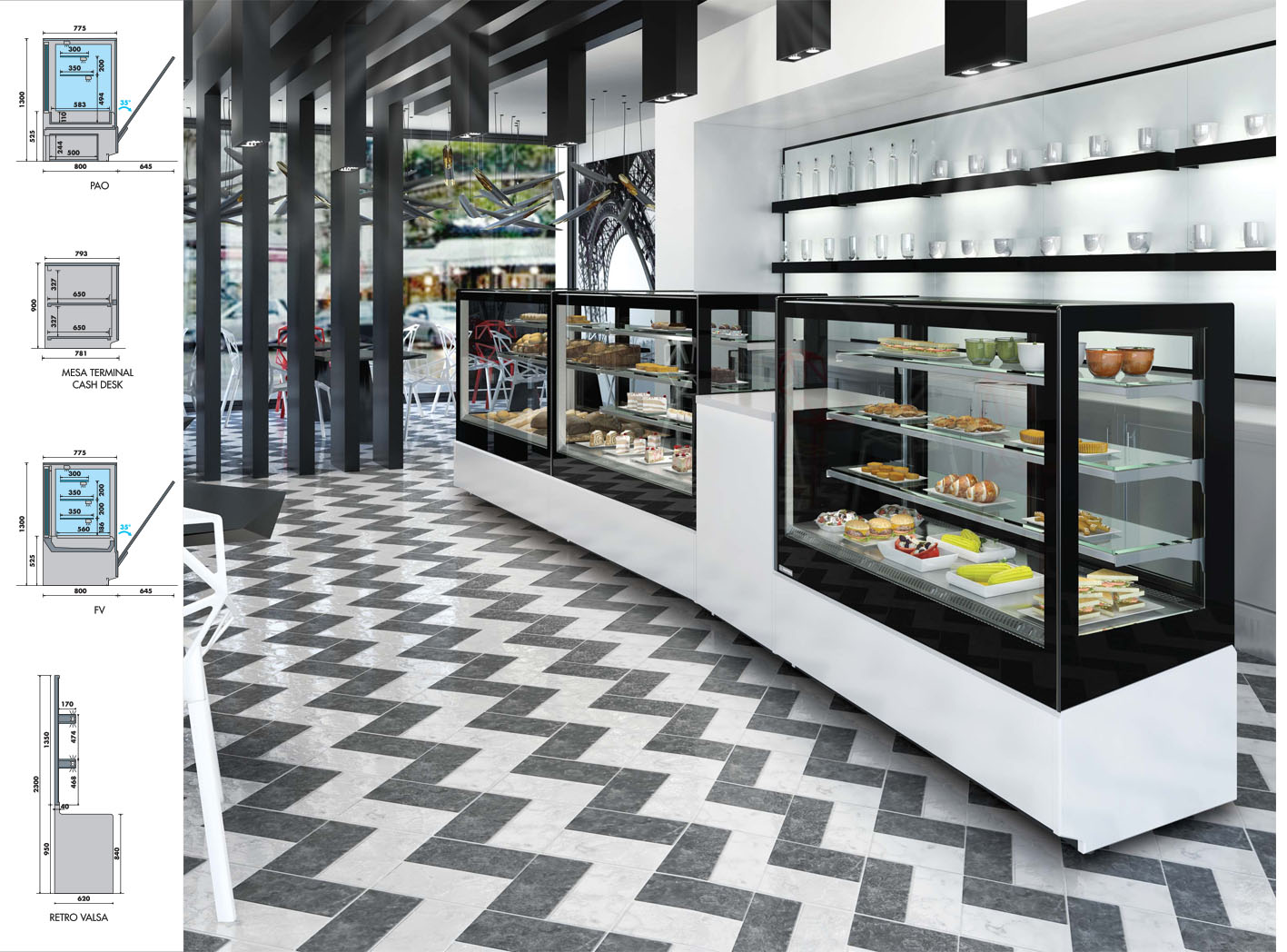 comptoir pour fast food